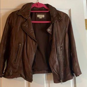 3/4 sleeve brown leather jacket